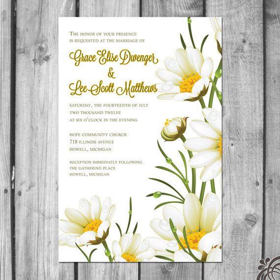 White Daisy Heart Wedding Invitation: 17 Best Images About Daisy Wedding Theme Ideas On