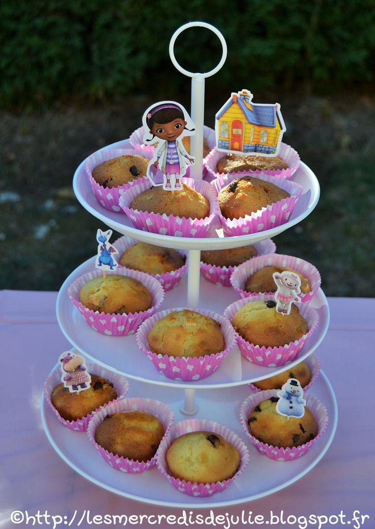 Les Mercredis de Julie - Muffins chocolat poire - Anniversaire Laura - Thème Docteur la peluche