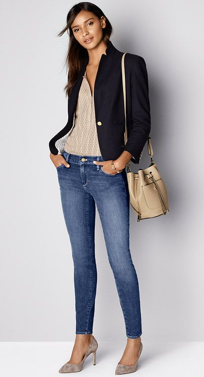 Must-Have Look: Dress up your denim with a textured jacket and signature bucket bag