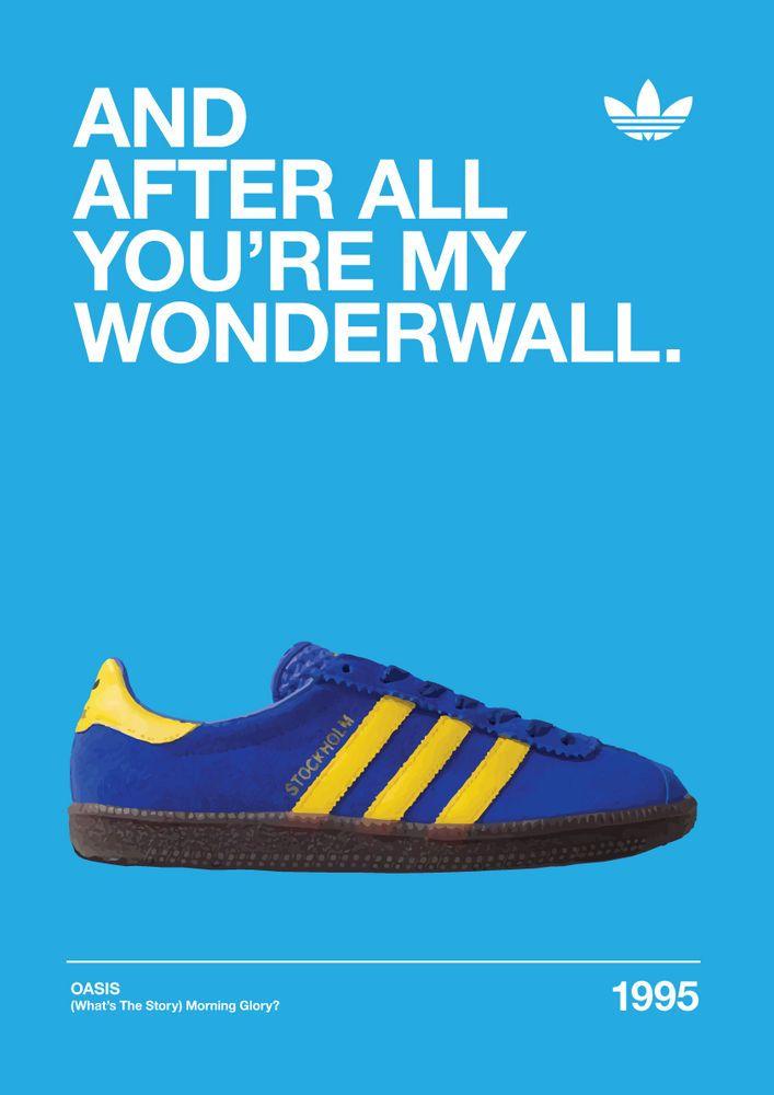 Adidas Stockholm Originals Oasis  Wonderwall  A3 Artwork Poster