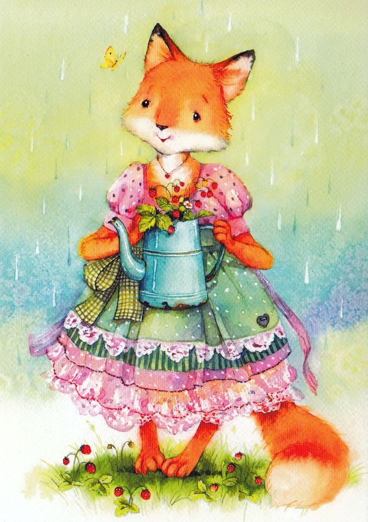 Дома, открытка лисички