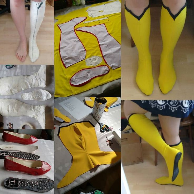 This is how I made my Spider woman boots! First I had my foot taped then cut it into pattern pieces. I took some cheap shoes apart so I could use the soles. Then cut the pattern pieces from fabric sewed the pieces together and finally glued the soles on!