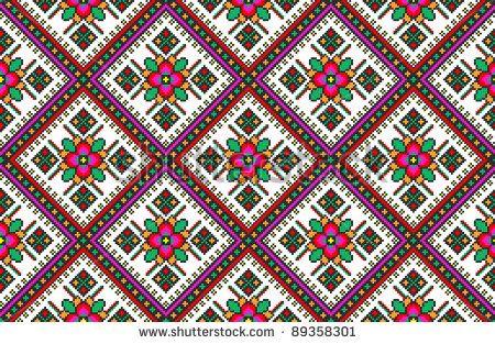 seamless embroidered good like handmade cross-stitch ethnic Ukraine pattern