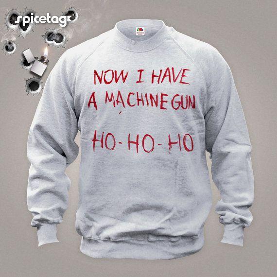 Now I Have A Machine Gun Sweater Movie Jumper  Film Sweatshirt Fancy Dress Christmas Xmas Ho Heather Grey S-XXL Shirt