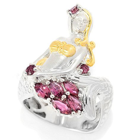 157-617 - Gems en Vogue Multi Shape Pink Tourmaline Textured Mermaid Ring