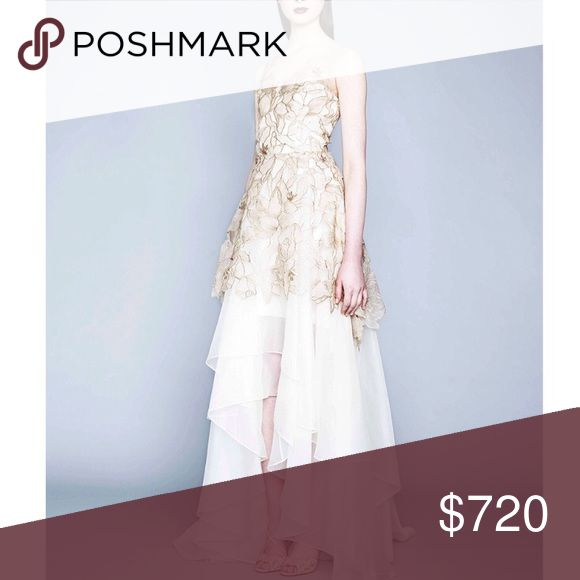 Notte by Marchesa Metallic Floral Lace Gown Floral lace gown by Marchesa Notte. V-neckline with back zip closure, sheer straps with floral appliqué bodice and cut out edge layered flutter hem. Never worn. Marchesa Dresses