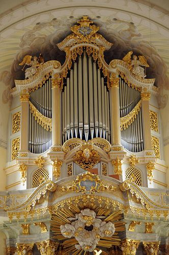 Gilded organ in Frauenkirche (Church of Our Lady) - Lutheran, Dresden, Germany.  Built in the 18th century then destroyed in WWII, it was rebuilt beginning in 1994 following the reunification of Germany.  It's a little gaudy for my taste.