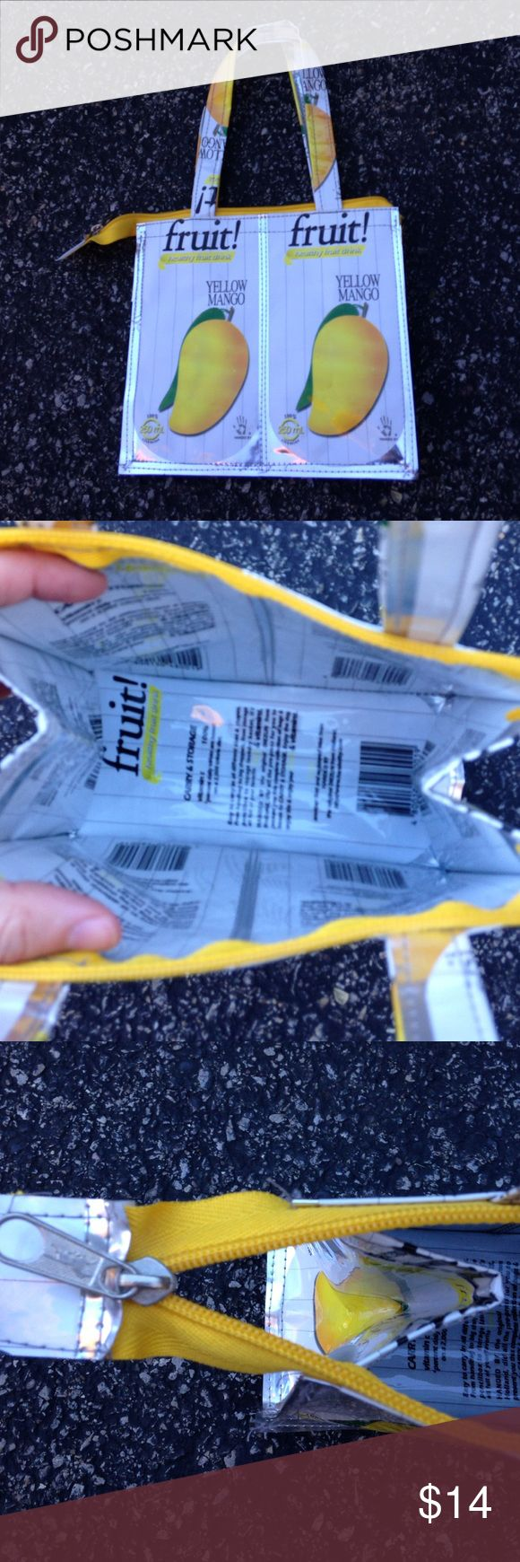 "Cute juice box mango purse Purse made from yellow mango plastic juice containers, zips at top, show off your eco-chic spirit! 7.5""x7""x4"" with 6"" drop from handle Bags Mini Bags"