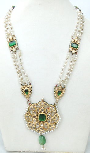 VINTAGE ANTIQUE 20K GOLD DIAMOND POLKI KUNDAN ENAMEL MEENAKARI WORK NECKLACE