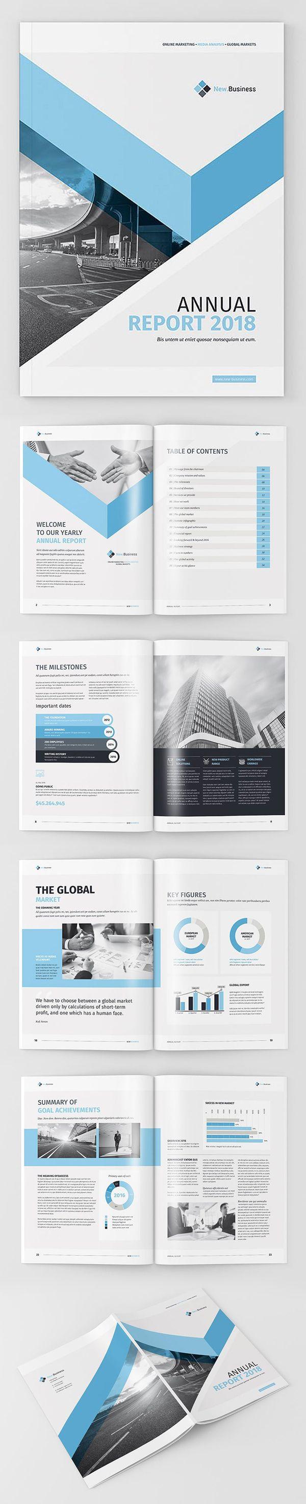 Professional Annual Report 2018 Template #brochuretemplate #catalogdesign #booklet #annualreport #printdesign #psdtemplate