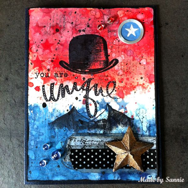 Made by Sannie: Red, white and blue masculine card with video tutorial