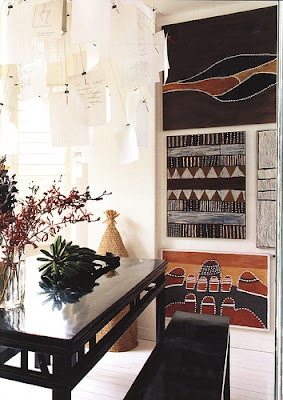 Indigenous art vignette, and another paper chandelier.