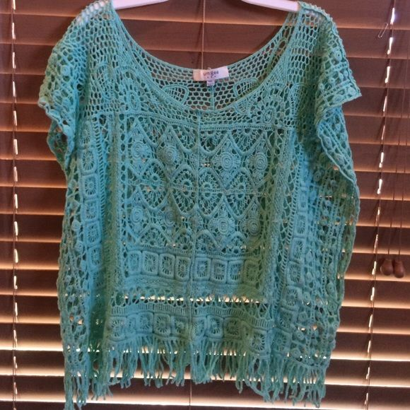 Crochet mint green top Mint green, good condition Umgee Tops Blouses