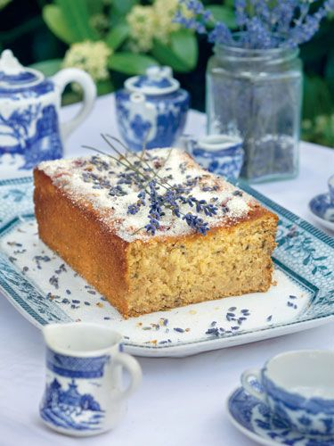 Lemon and Lavender Cake... best set off by blue and white china...