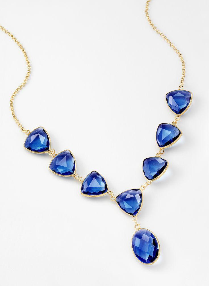 Collar en 4 ba os de oro de 18 kl con piedras de cristal for Banos electroliticos para joyeria