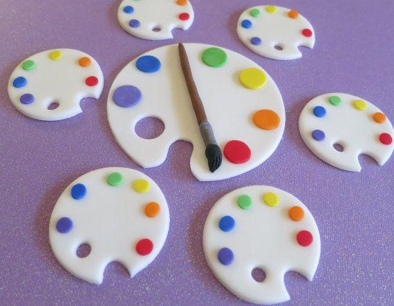 Tanja Cake Topper Artist : Art Palette -paint brush artist- Art Party fondant cake ...