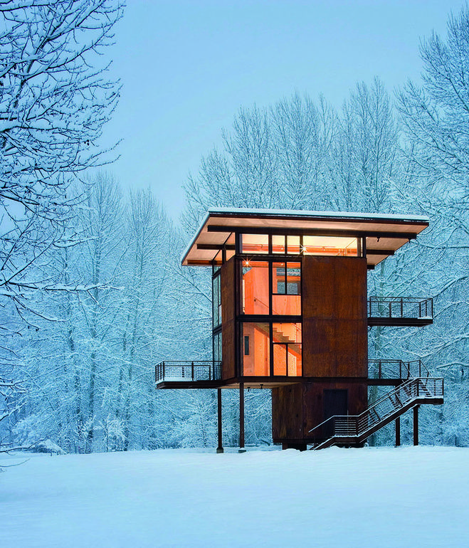 Olson Kundig Architects' Delta Shelter, in Mazama, Washington, is a 1,000 square-foot steel box home with a 200 square-foot footprint. Ph...