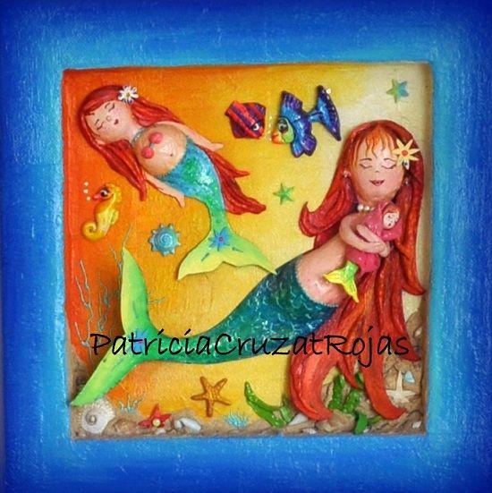 Cuadro papel maché y tecnicas mixtas. Sirena y sus hijos. 50x50