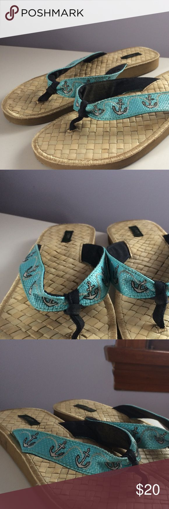 J.Crew anchor sandals Only been worn once, in great condition! J.crew size 7-7.5 sandals. Perfect for summer with anchor details! J. Crew Shoes Sandals
