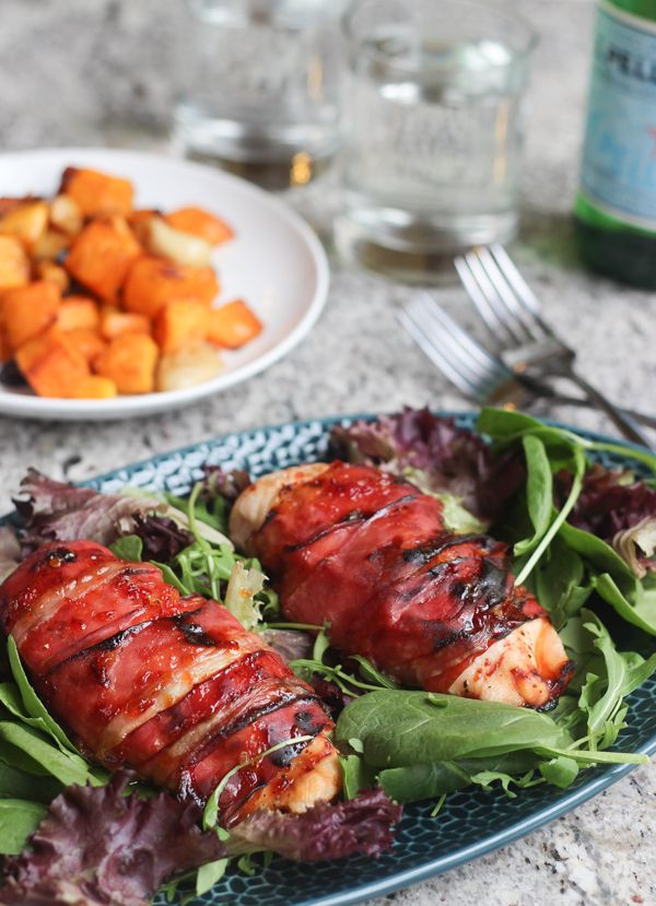 Tender juicy honey glazed prosciutto wrapped chicken. Perfect with a side salad and roasted veggies.