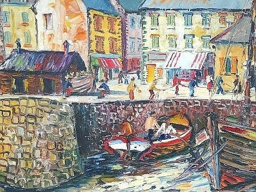 George Hann 20th century- European fishing harbour; oil on canvas, signed, 45x60cm