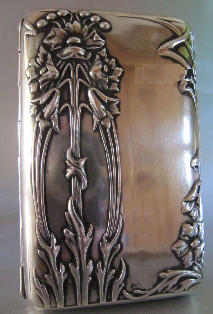 Antique Art Nouveau Silver Cigarette Case