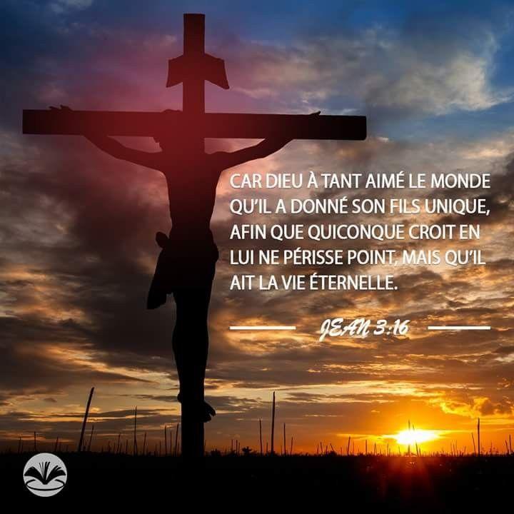 Jean 3:16 Car Dieu a tant aimé le monde qu'il a donné son Fils unique, afin  que quiconque croit en lui ne périsse point, mais qu'il ait la vie  éternelle.