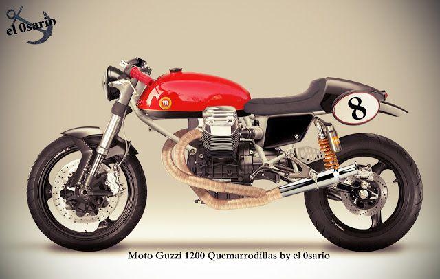 Moto Guzzi 1400 Quemarrodillas Moto Guzzi 1400 engine, Ducati tt2 frame, Montesa Impala gas tank, Guzzi V7 racer rear seat cover, trumpet mufflers, Ducati Monster wheels and fork, clubman bar, Honda VT750s lateral cover…