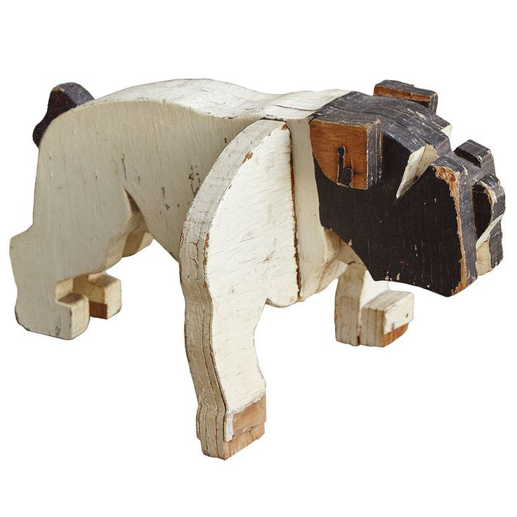 c. 1930's American Folk Art Wooden Bulldog Sculpture | From a unique collection of antique and modern sculptures and carvings at http://www.1stdibs.com/furniture/folk-art/sculptures-carvings/