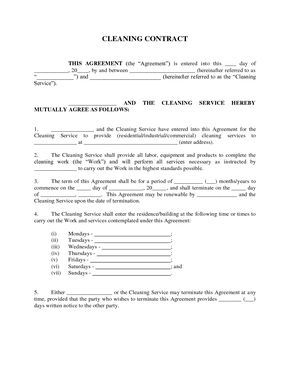 Maid Service: Sample Maid Service Agreement - cleaning contract agreement