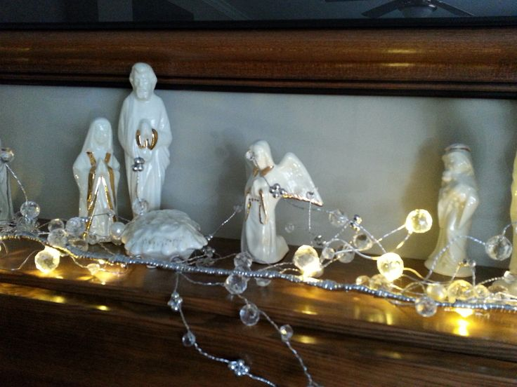 Mary, Joseph, the Baby Jesus, a tiny angel, and the smallest of the shepherds in my home-made nativity scene that I made at camp. www.christinelindsay.com