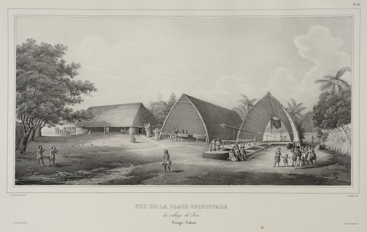 An artwork by a french artist, Joseph Lemercier of the village of Pea in 1833 and known as Vue de la Place Principale du Village de Bea.There were 2 other artists, Louis Auguste de Sainson and Alexis Noel also working along in discovering throughout Tongatapu and Pea in particular as they were fasinated with the building construction of the tongan fale (house).