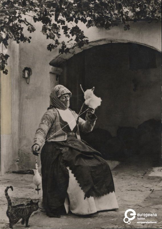 photo of a woman with local costume from Megara, Greece.