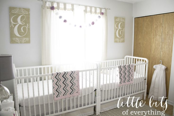 Twin Girls Nursery - #nursery #twinsNurseries Plans, Twin Girls, Girls Twin, Twin Nurseries, Projects Nurseries, Cribs Together, Nurseries Twin, Girls Nurseries, Nurseries Ideas