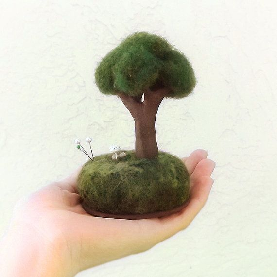 Miniature Tree Sculpture Pincushion Wool by FoxtailCreekStudio, $30.00