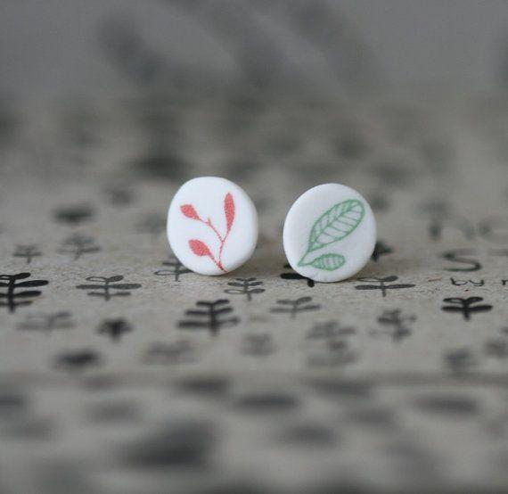 Leaves  Porcelain Earrings