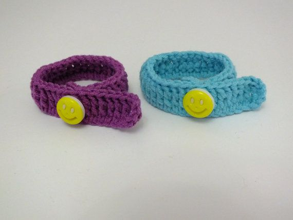 Twin id bracelets anklets newborn baby crochet adjustable hospital id blue and purple cotton yarn 2pcs color options