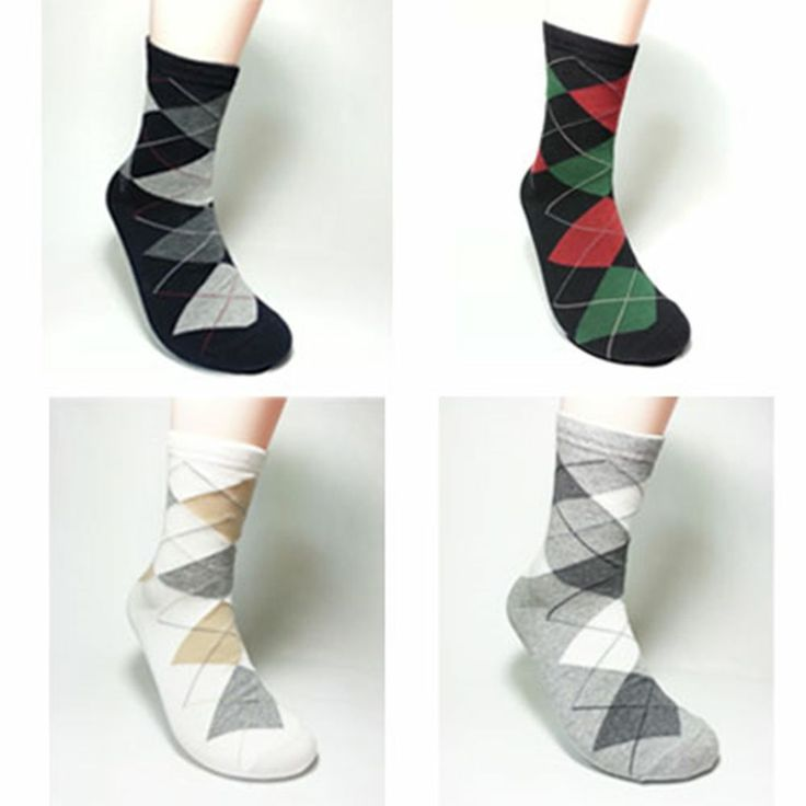 4 pairs Cotton Casual Man' s High quality Argyle socks