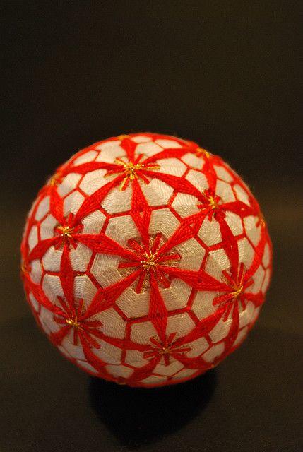 Japanese tamari ball // Red and white geometric flower pattern // by NanaAkua via Flickr