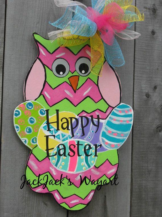 Easter Owl Easter door hanger Owl decoration by JackJacksWayart