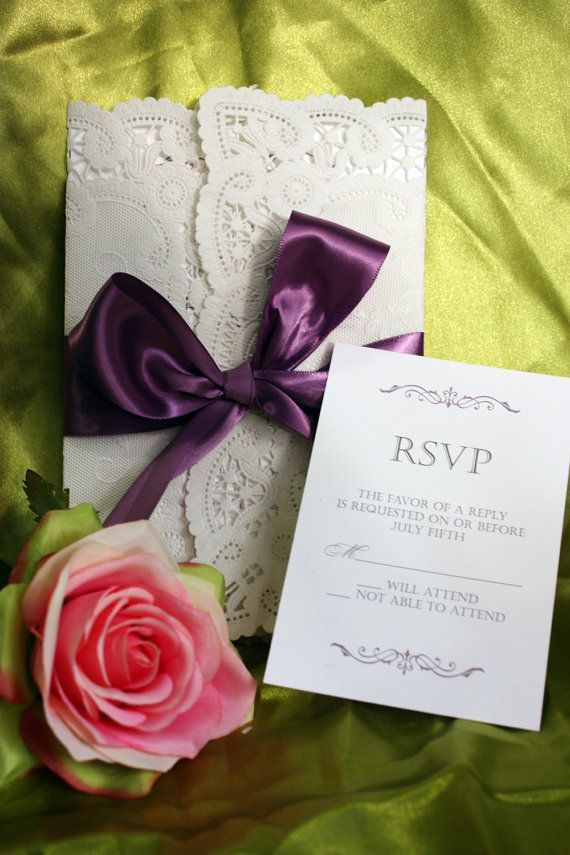 Lace Wrapped Wedding Invitation Set - Delicate lace paper gatefold with satin ribbon. $5.00, via Etsy.