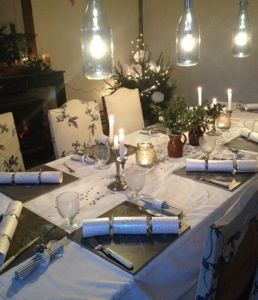 Rustic dining room, BHS lights, Earthbourne paint bandstand