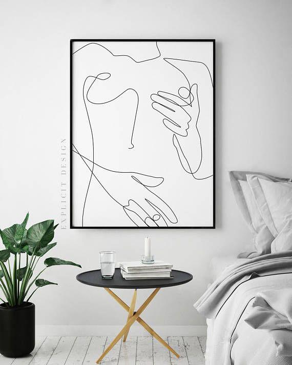 One Line Sexual Printable, Nude Female Body, Minimalist Naked Art, Sensual Erotic Prints, Woman Nipple Illustration, Digital Couple Print – Jette Dark