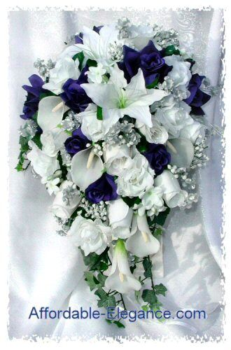 Cascading wedding bouquet blue silver white winter
