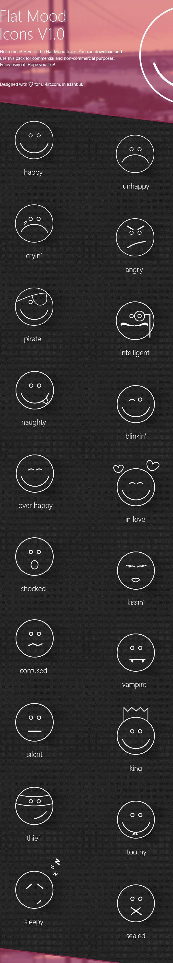 Flat Mood Icons by Deniz Hacisalihoglu, via Behance