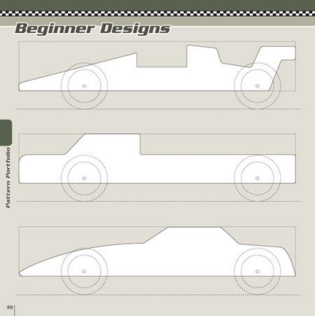 Beginner designs patterns pinewood derby designs for Boy scout derby car templates