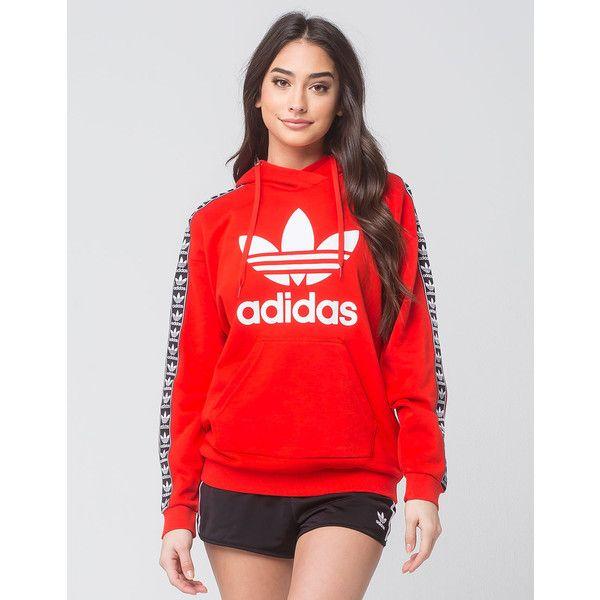 Adidas Trefoil Sleeve Womens Hoodie ($70) ❤ liked on Polyvore featuring tops, hoodies, red hoodie, red long sleeve top, long sleeve hoodie, adidas hoodie and cotton hoodies