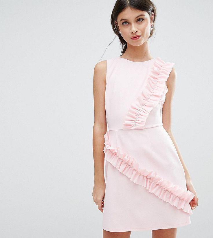 ASOS PETITE Mini Dress with Frill Detail - Pink