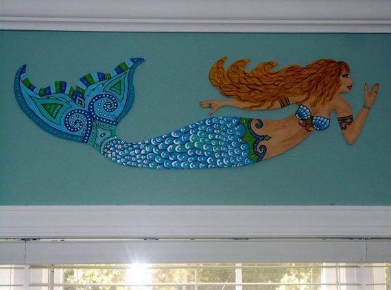 beach decor home decor mermaid wall decor - Mermaid Home Decor