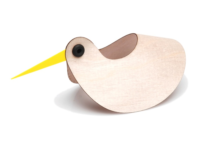 Flexform Kiwi - one of my designs under 'nuzilla' : a curved piece of slender plywood held together with a rubber grommet, plus bright yellow beak - it also rocks!